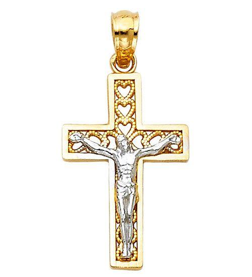 14k Yellow White Gold Two Tone Small Jesus Christ Crucifix Pendant Cross Charm