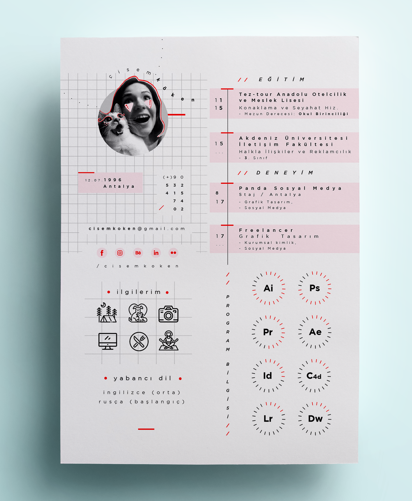 Cv 2 0 1 8 On Behance Graphic Design Resume Graphic Design Cv Resume Design Creative
