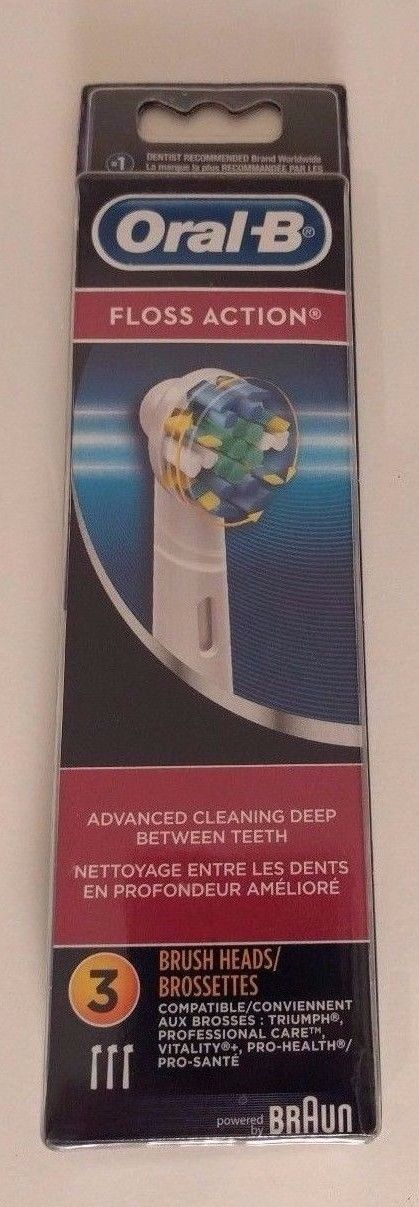 3 Oral-B Floss Action Replacement Brush Heads  Brand New  EB25-3