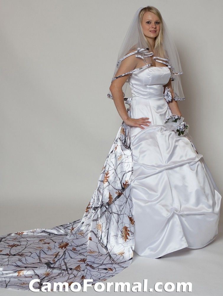 White Camo Dresses Bridal And Wedding Dress With Camouflage Sash Prom