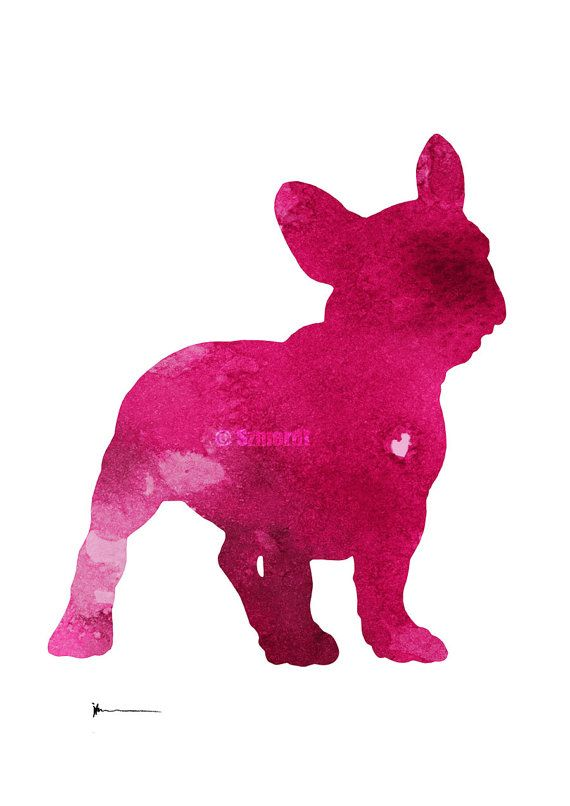 French Bulldog Silhouette Pink Watercolor Painting Dog Art Print
