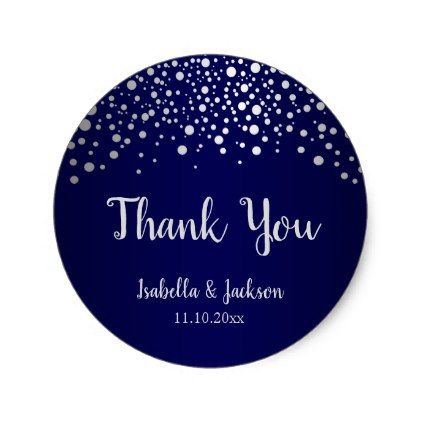 Navy blue and silver confetti dots classic round sticker create your own gifts personalize cyo