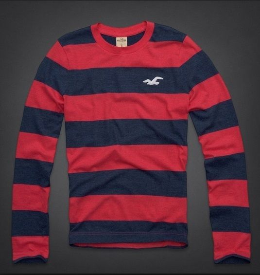 Hollister La Jolla Cove Crew Men's Shirt size Medium M NEW Red/Blue Long  Sleeve