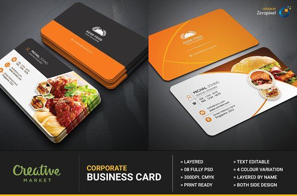 Restaurant Business Card By Zeropixel On Graphicsauthor Restaurant Business Cards Food Business Card Catering Business Cards