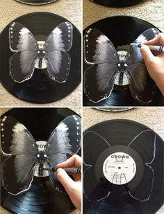 Diy Vinyl Butterflies Schmetterlinge Aus Schallplatten Basteln