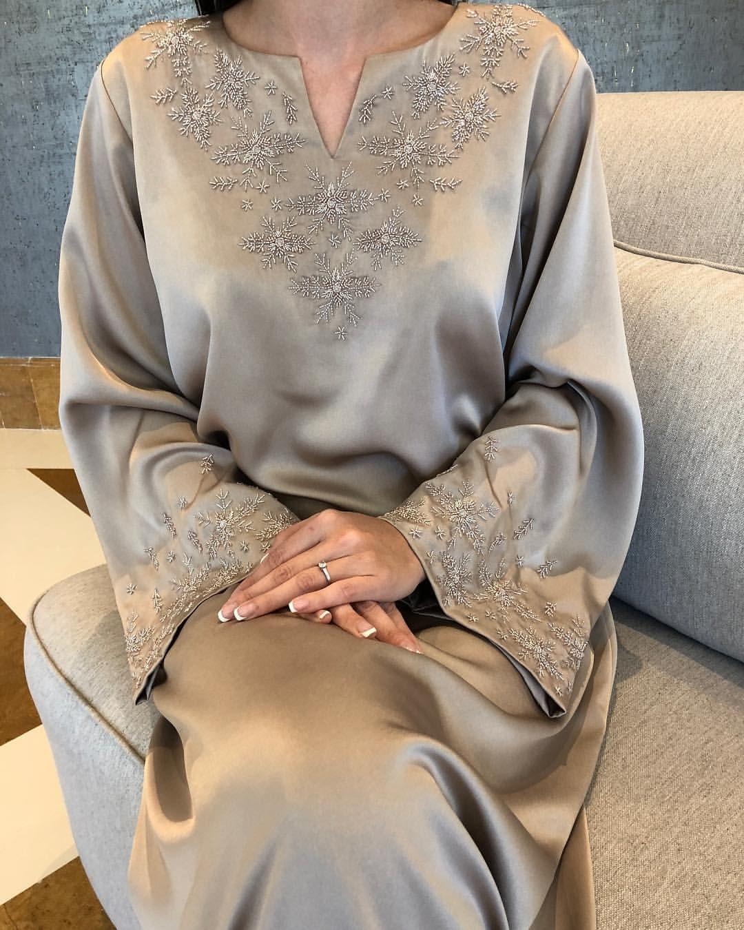 Snowflakes Dress In Japanese Soft Crepe Fashion Abaya Fashion Embroidery Fashion
