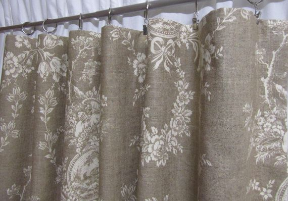 Neutral Toile Drapes French Country Curtains Linen Colored Window Curtains Shabby Chic Shabby Chic Bathroom French Country Curtains Rustic Shower Curtains
