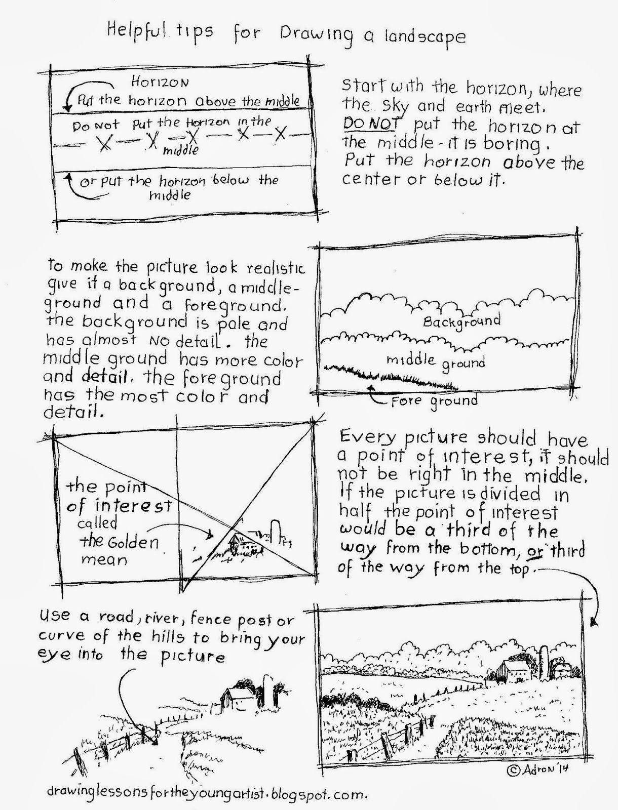 Helpful Tips For Drawing Landscape Worksheet