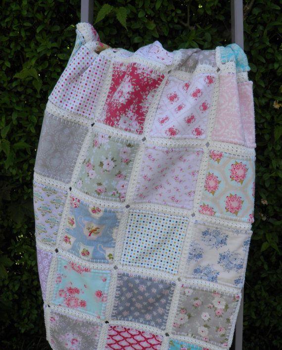 Fusion quilt, Patchwork quilt with crochet border, Tilda, Quilt ...