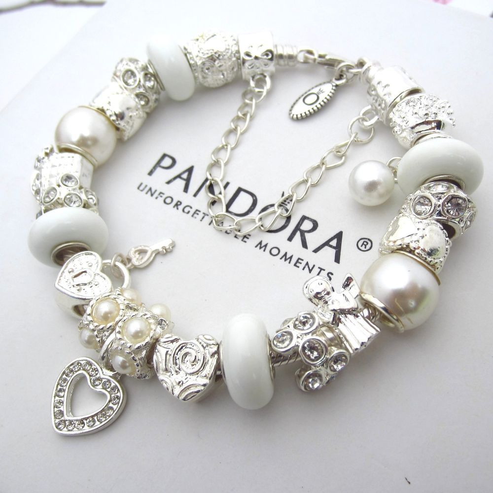 Authentic pandora sterling silver bracelet with white for How much does pandora jewelry pay