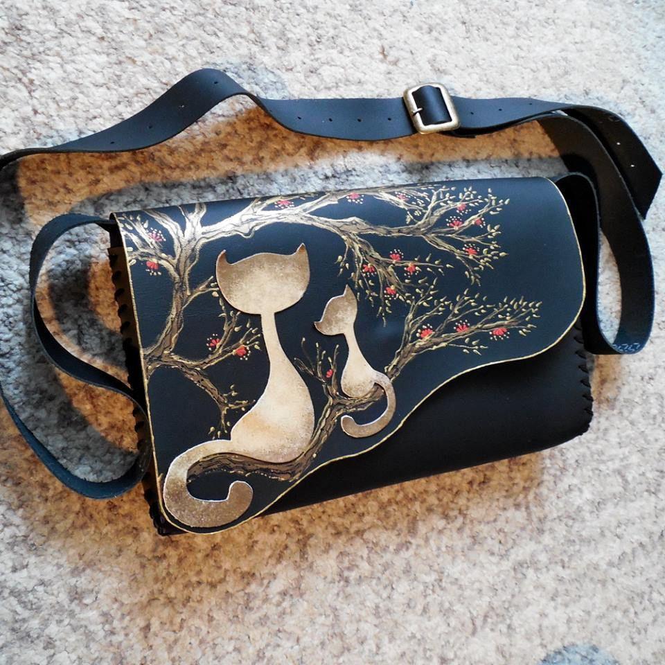 Leather Crossbody Bag Cat Bag Kitten Bag Cats Crossbody Bag Kitty Bag Cats In The Tree Cat Lover Kitten Lover Bag With Cats Cat Gift Leather Bag Pattern Leather Clutch Bags Leather Crossbody Bag