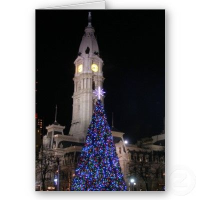 Philadelphia City Hall at Christmas Greeting Cards by vjulye