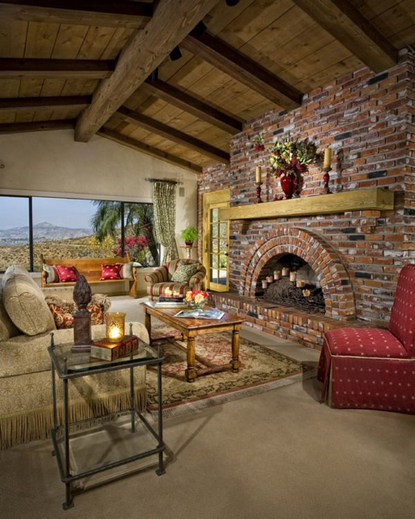 Living Room Decorating Ideas With Red Brick Fireplace: Country Living Room Ideas With