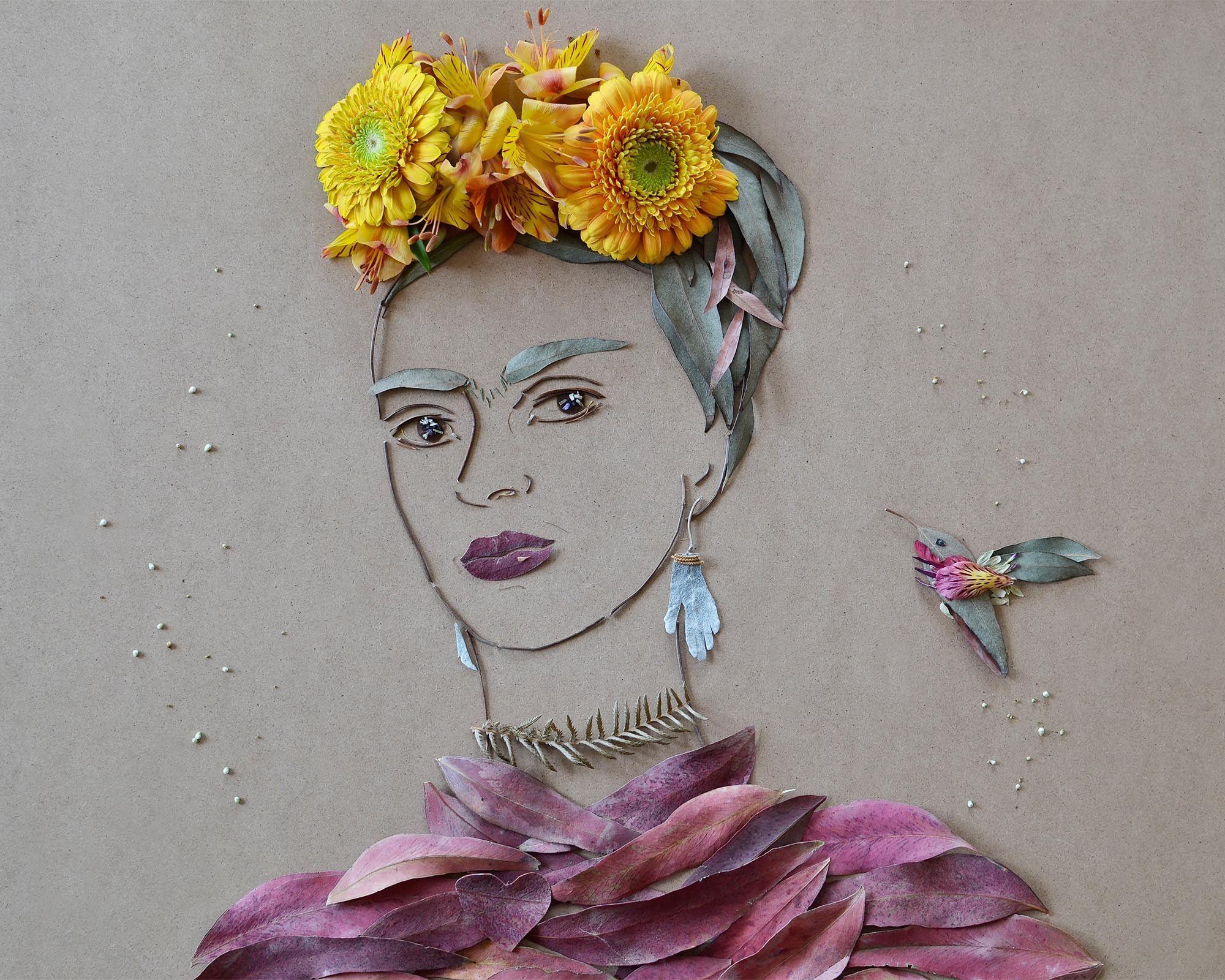 """""""""""Frida In The Garden"""""""" Flower Face Print"""