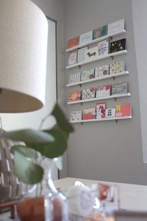 Diy Greeting Card Display Wall For Your Office Greeting Card Display Display Cards Greeting Card Display Stand