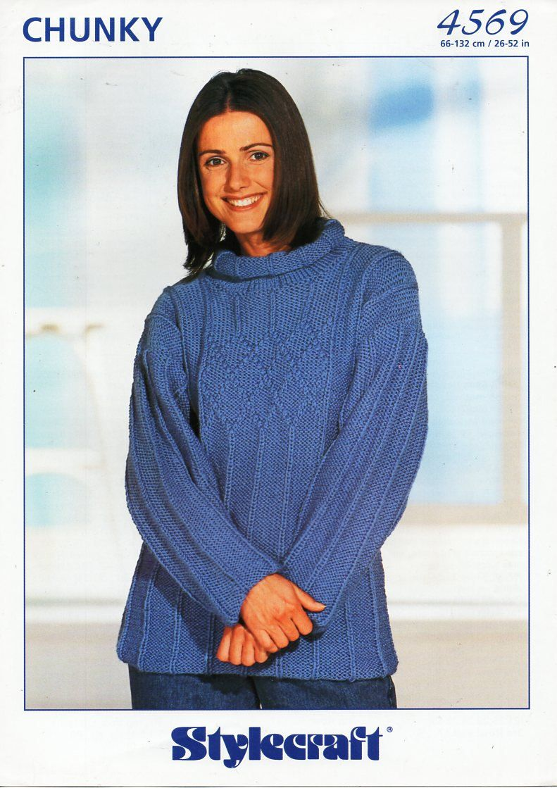 00a182c20 Original womens sweater knitting pattern Chunky ladies jumper Stylecraft  4569 larger sizes 26-52