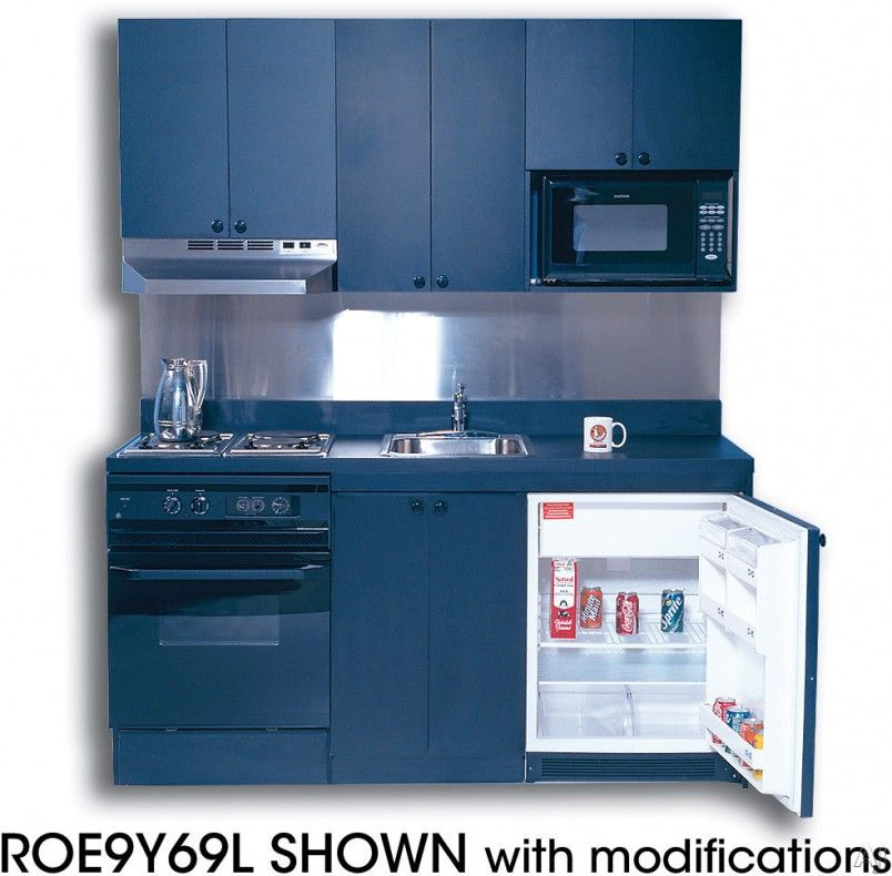 Incredible Compact Kitchen Units Design With Blue Color Theme And Simple Square Shape Also Cabinets Two Stove Chimney