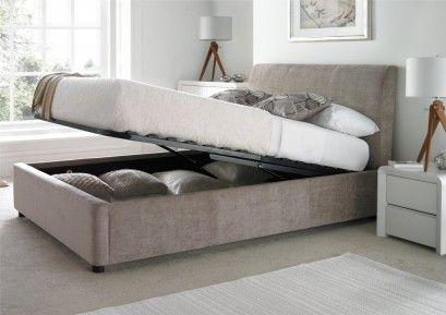 Serenity Upholstered Ottoman Storage Bed - Mink - Serenity Upholstered Ottoman Storage Bed - Mink Bedroom
