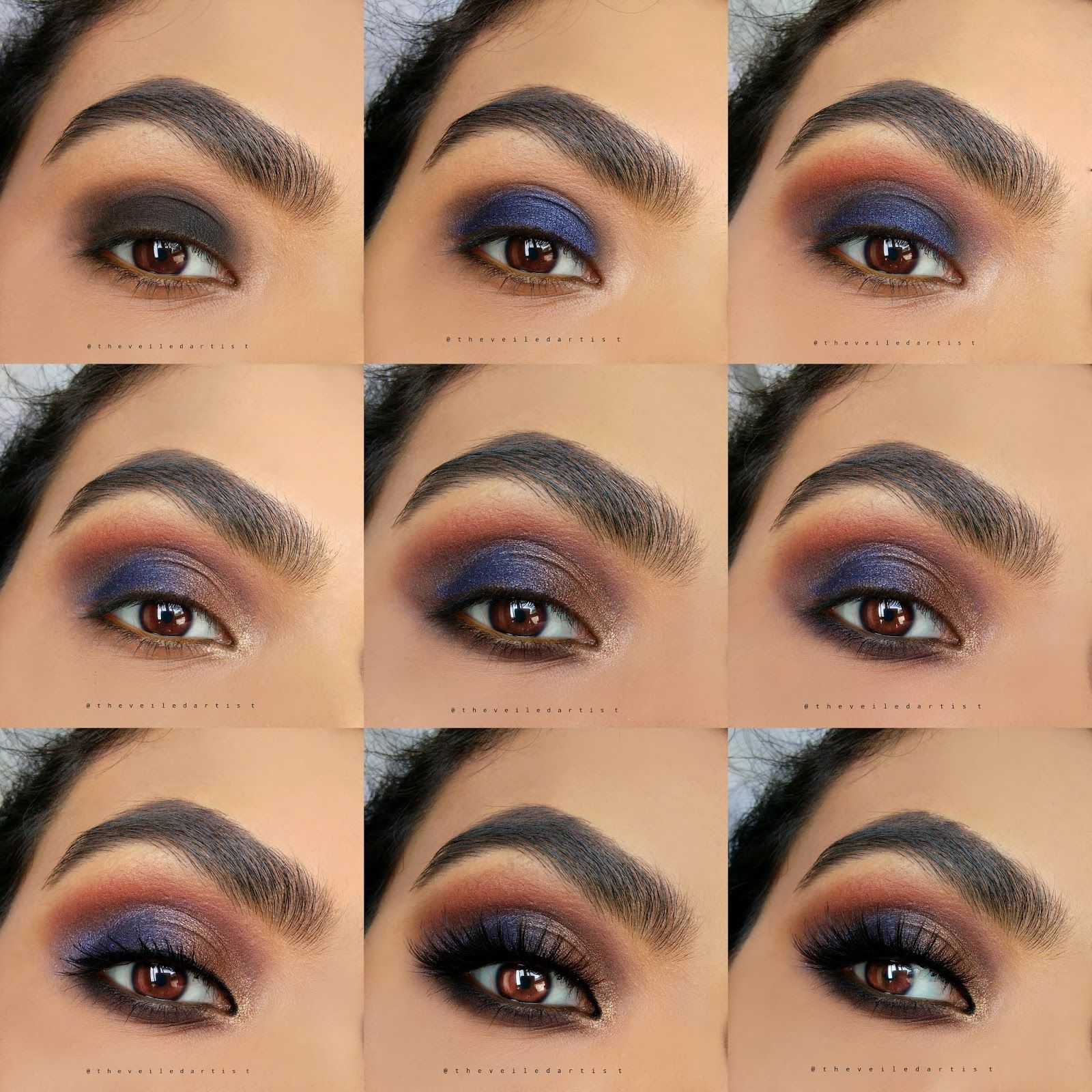 Navy Blue and Bronze Smokey Eye Tutorial: Perfect Party Makeup