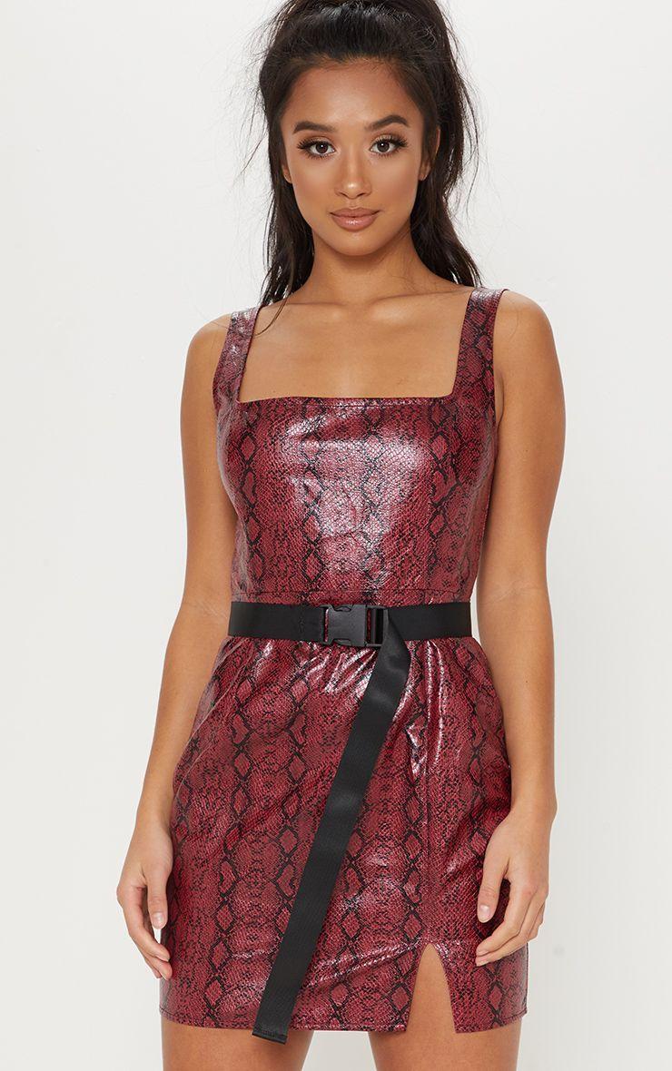 e28bf5b38a Petite Red PU Snake Print Straight Neck Bodycon Dress
