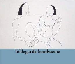 Hildegarde Handsaeme paints mainly women and follows a harmonic and constructively perfect pattern. The figure in itself is dominating but she knows how to put it the right surroundings where nature and cosmos play a symbolic part. With a set of straight lines she builds a mysterious haze of inner feelings on the canvas in a simple but penetrative way. She does not call for hallucinating images bet lets herself go with sensitivity guided by an unfailing intuition.