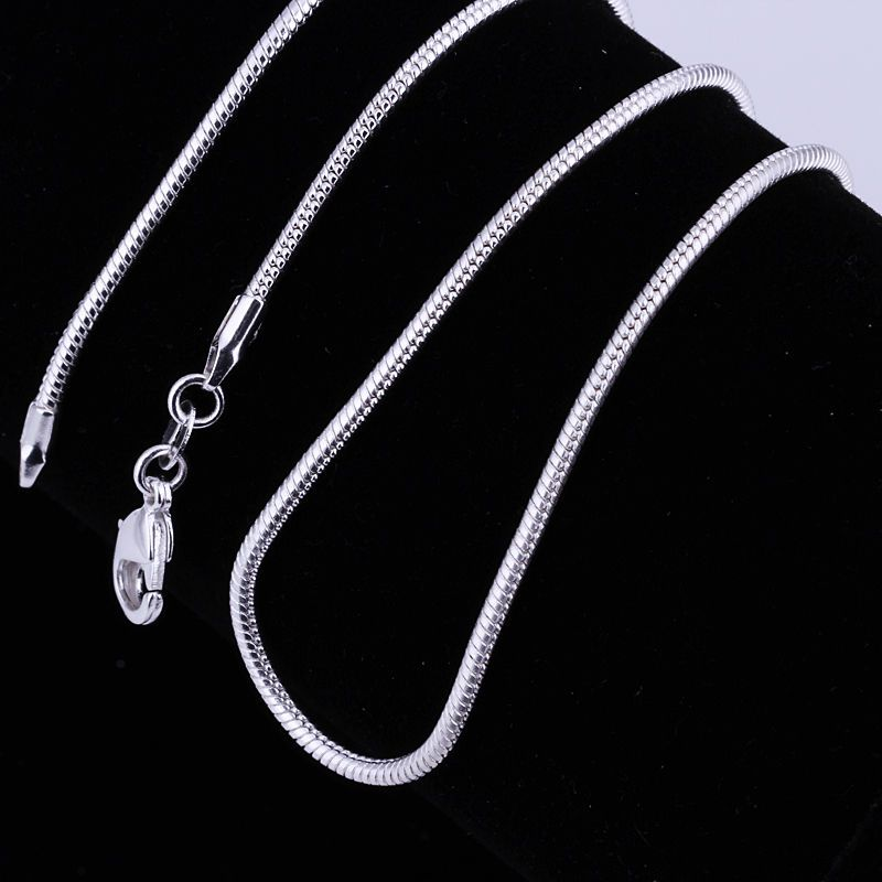 New 1mm Silver 16-24 Inch Fashion Jewelry Snake Chains Necklace For Pendants