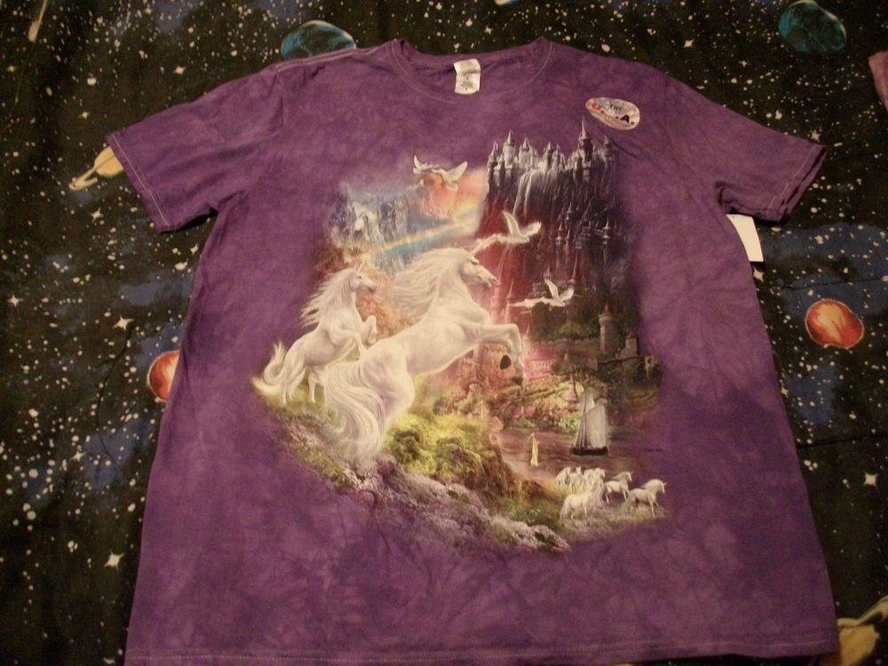 The Mountain UNICORN FANTASY CASTLE Purple Cotton T Shirt Adult XL USA Printed #TheMountain #GraphicTee
