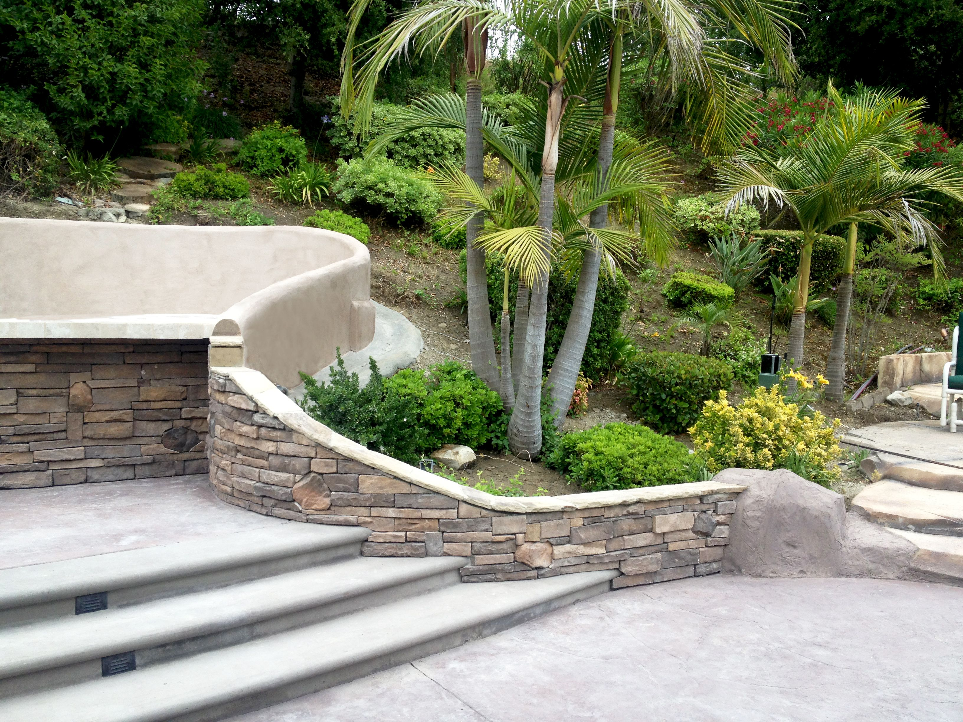 Stamped Concrete Retaining Wall Stone Work Masonry Brick Planter Backyard Makeover Front Walkway Backyard