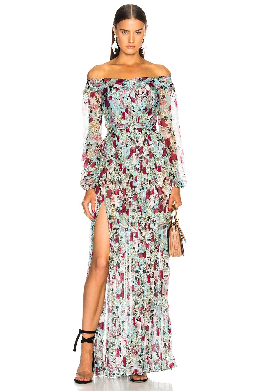 Image 1 Of Raquel Diniz Esther Off Shoulder Maxi Dress In Sky Rose Wedding Attire Guest Black Tie Wedding Guest Dress Summer Wedding Outfits [ 1440 x 953 Pixel ]