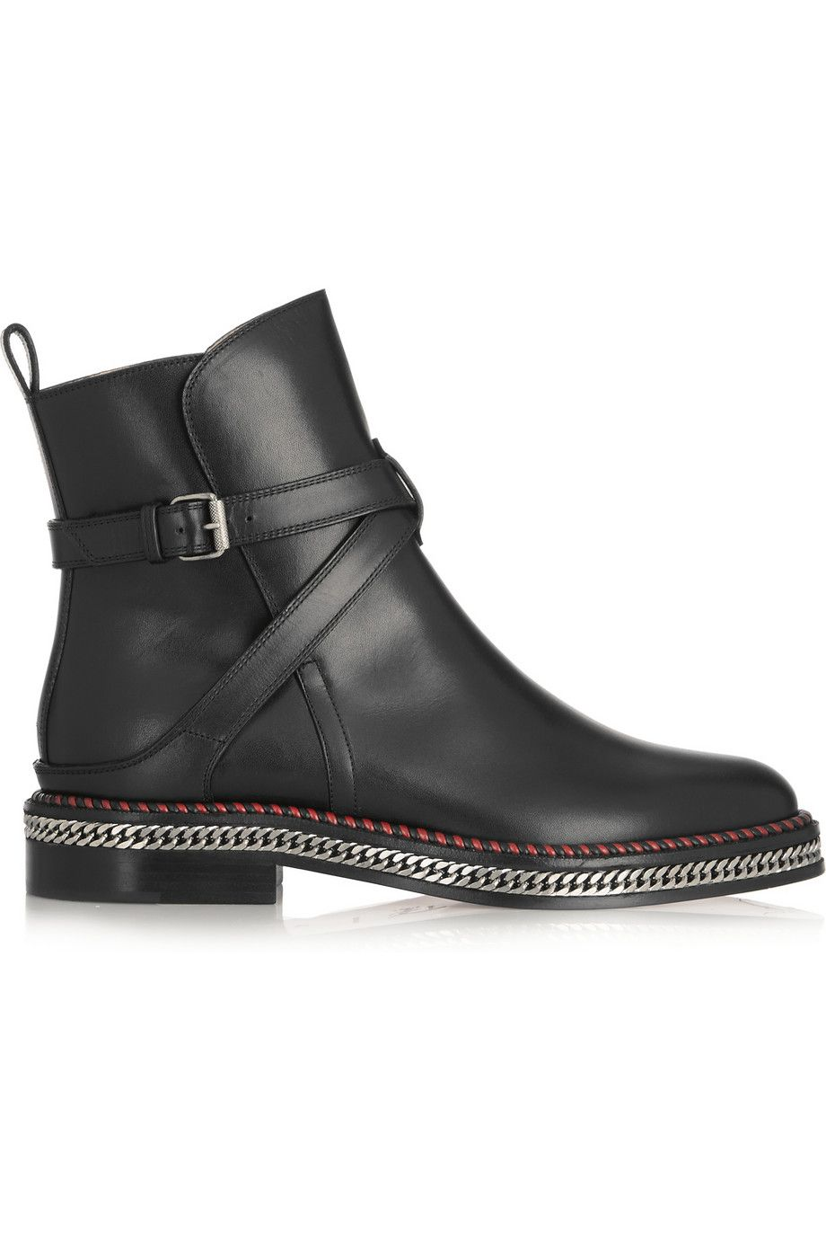christian louboutin chelsea chain 20 leather ankle boots