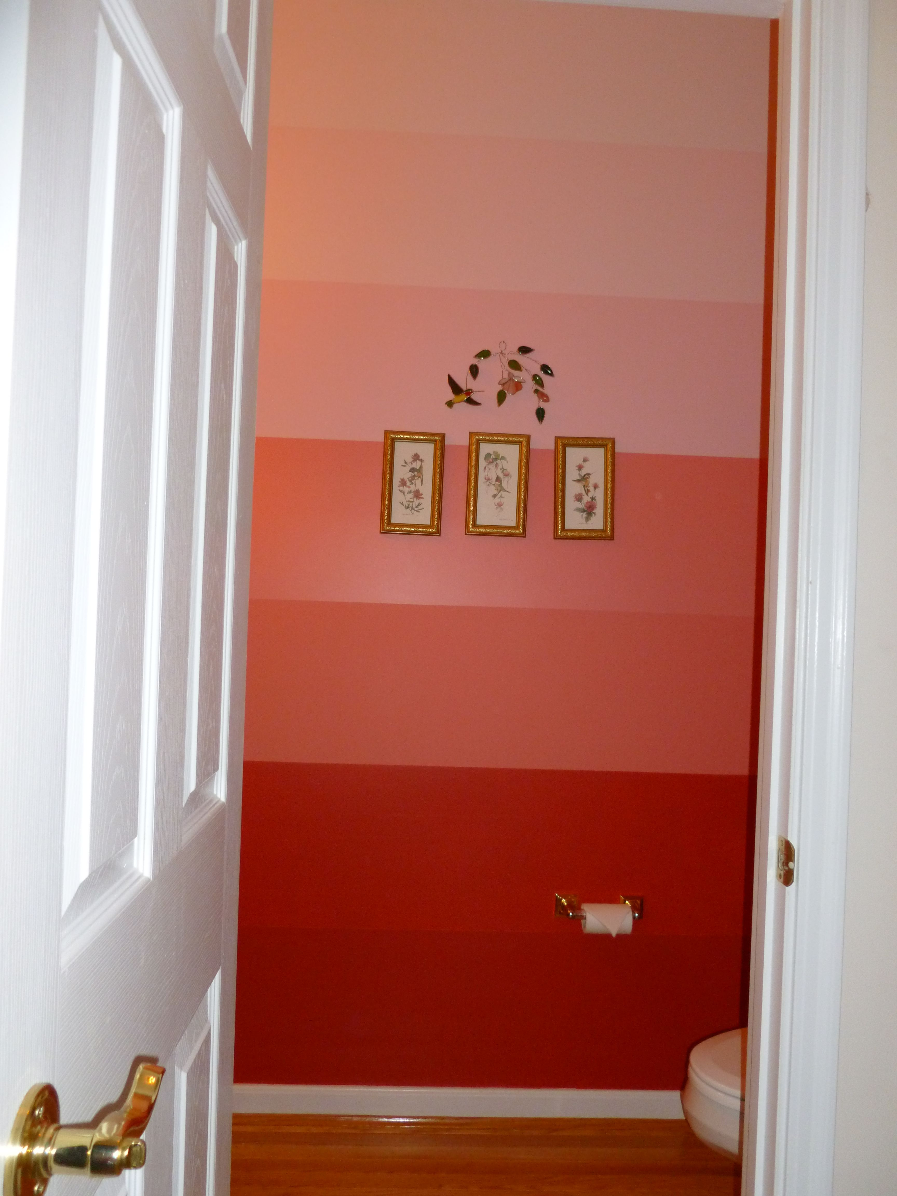 Painted the powder room.  I used the color pallet at Sherwin Williams.  Started with the darkest color on bottom, ending with a pale pink. I like the transition.