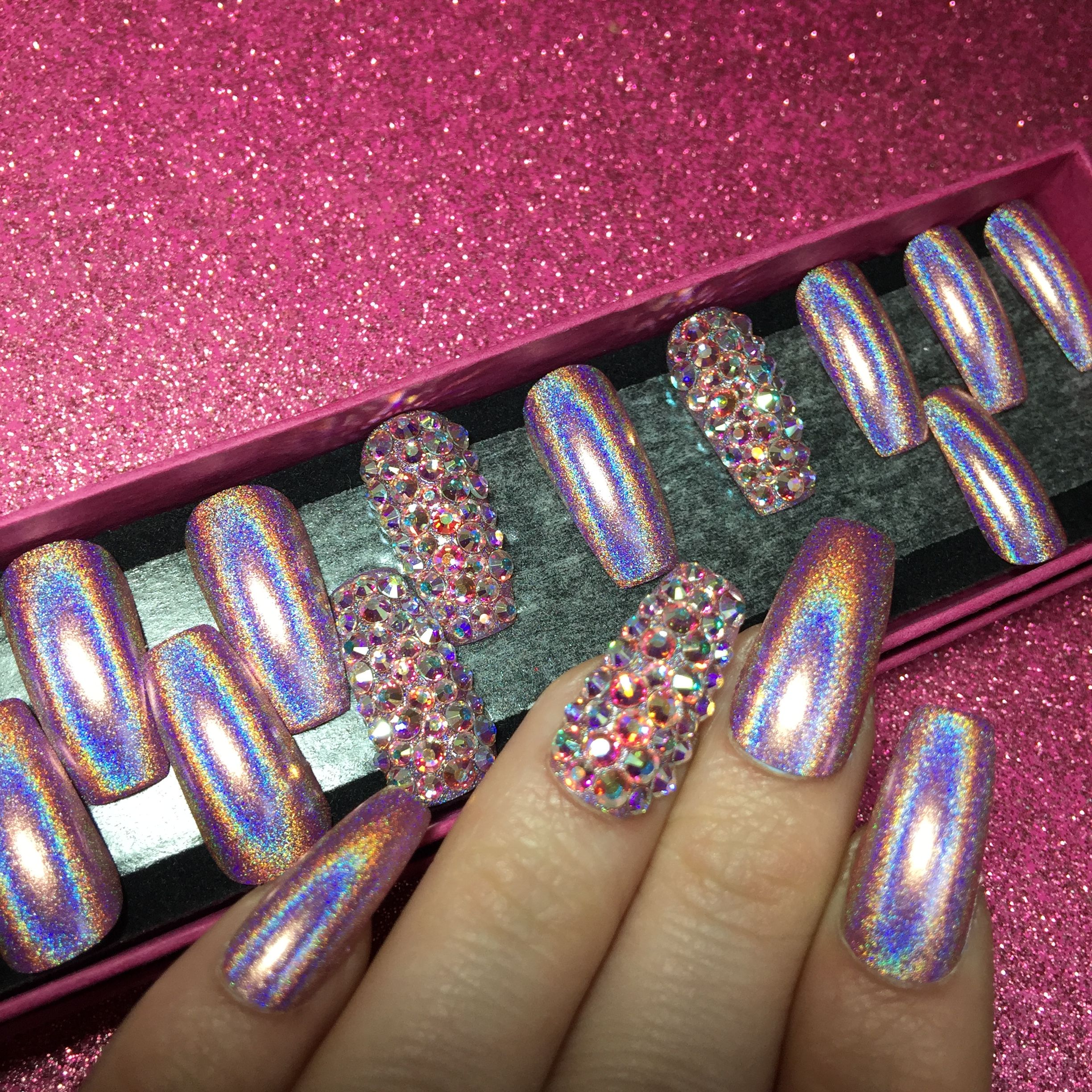 Pink Holographic Long Coffin Press On Nails For Sale Www Nailituk Co Uk Holographic Nails Coffin Nails Long Pink Holographic Nails