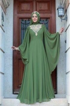 105 Yesil Abiye Kiyafet Islami Giyim Elbiseler