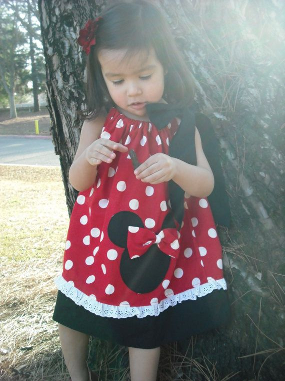 Red Minnie Mouse Pillowcase Dress by mycutebabystore1 on Etsy $27.00
