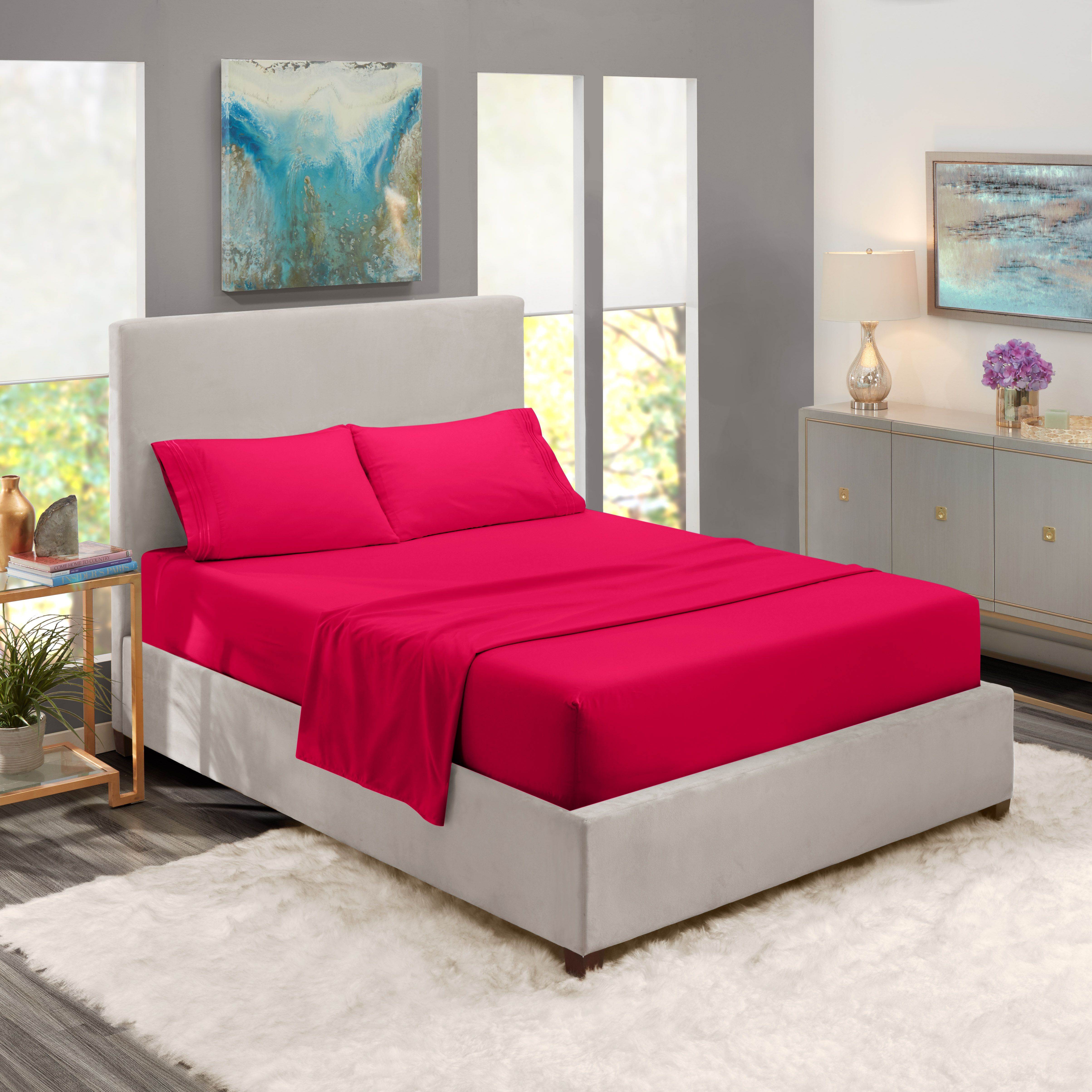 Full xl size bed sheets set hot pink luxury bedding