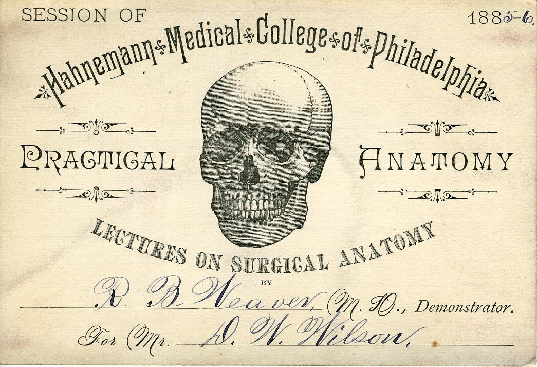 Lecture ticket for a medical college course which would have been ...