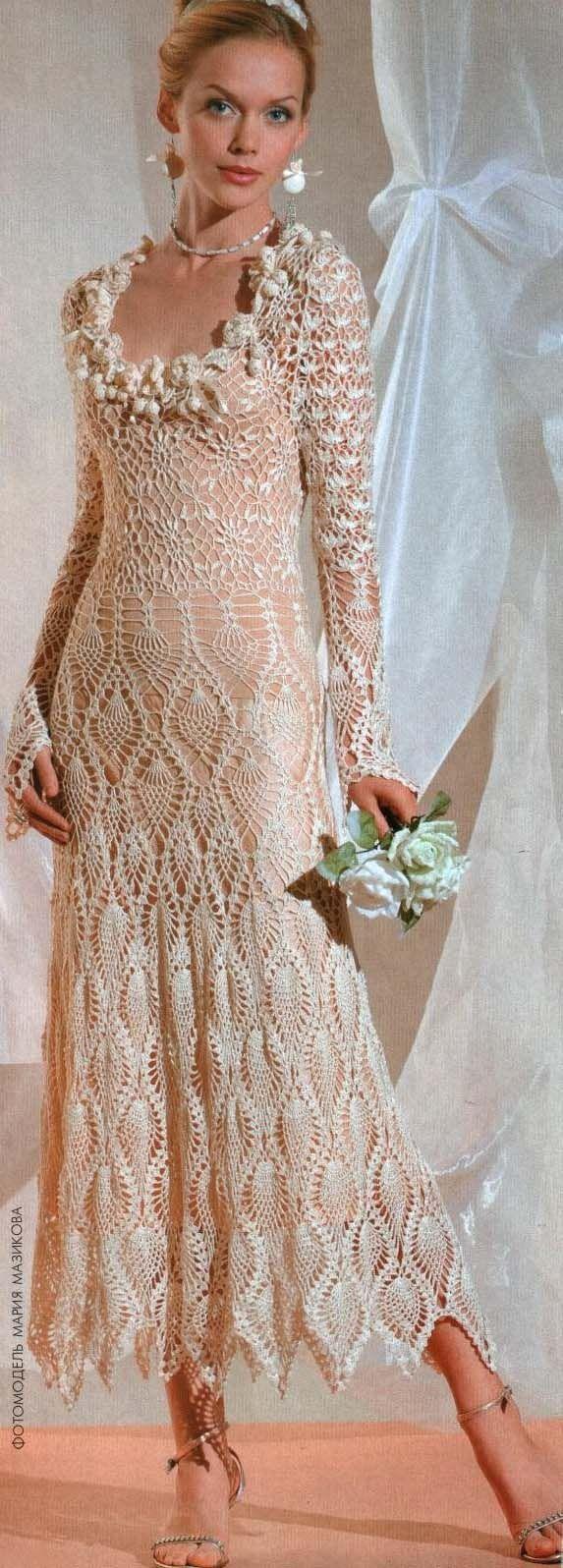 Beige wedding dress with diagrams, | Häkelkleider | Pinterest ...