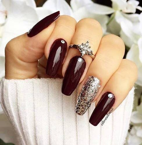 Accent nails designs oxblood nails with crystal glitter accent nail, knucke  ring fall nail art - Dark Red … Nailify Pinterest Dark Red, Dark And Makeup