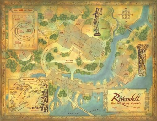 Map showing the layout of Rivendell in Peter Jackson's films