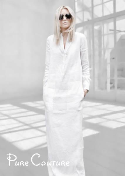 White Linen Long Dress with pockets / Linen maxi dress / Linen ...