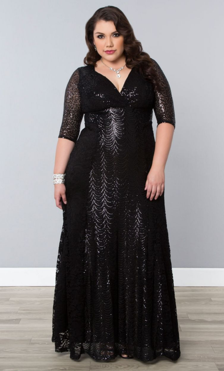 Grand Gatsby Gown Onyx Womens Plus Size From The Plus Size