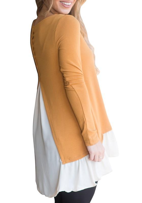 2541bf830df10 Yellow Patchwork Irregular High-low Buttons Long Sleeve Swallowtail T-Shirt