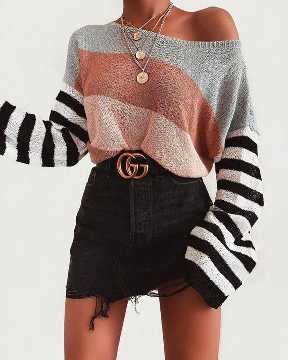 Striped arm knit sweater Hand Knit color set women sweater
