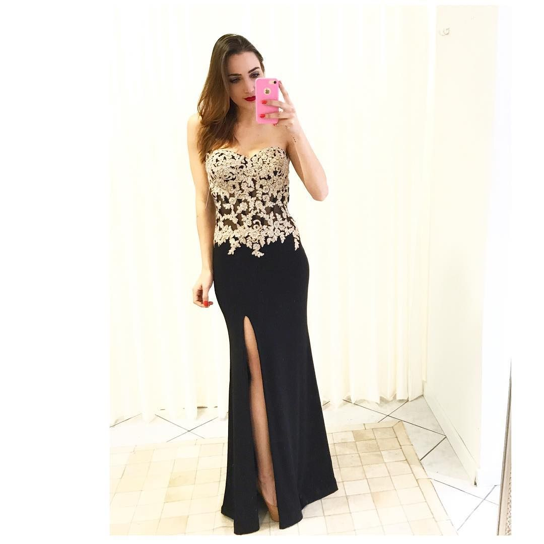 Black chiffon prom dressstrapless prom dresses long mermaid