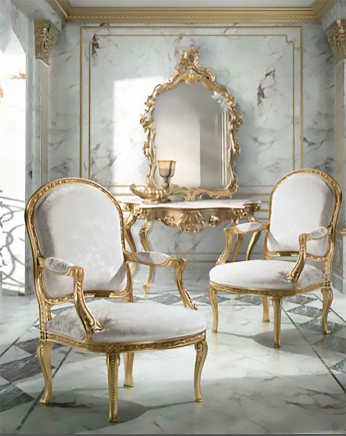 Classic withe chair Luxury furniture Classic decor