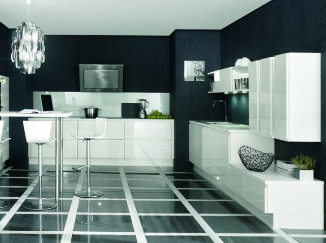 Noir et blanc habillent la cuisine ! Design, Elle décoration et