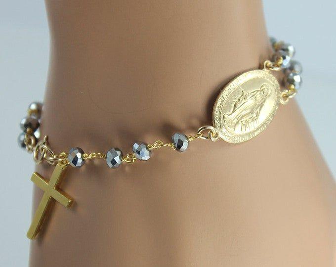 Rosary Bracelet Gunmetal Crystals Large Miraculous Medallion Sterling Silver or Gold Filled Women Men Custom Bracelets Rosaries Jewelry #rosaryjewelry