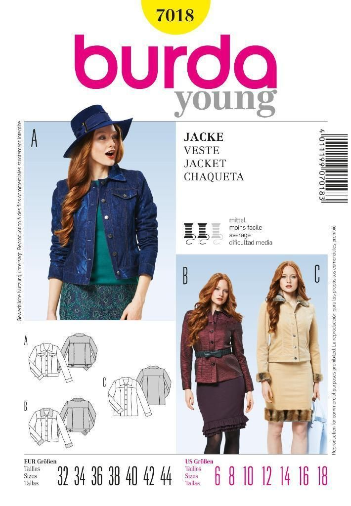 Burda Young Sewing Pattern Ladies Classy Jeans Jacket 6 - 18 7018 ...