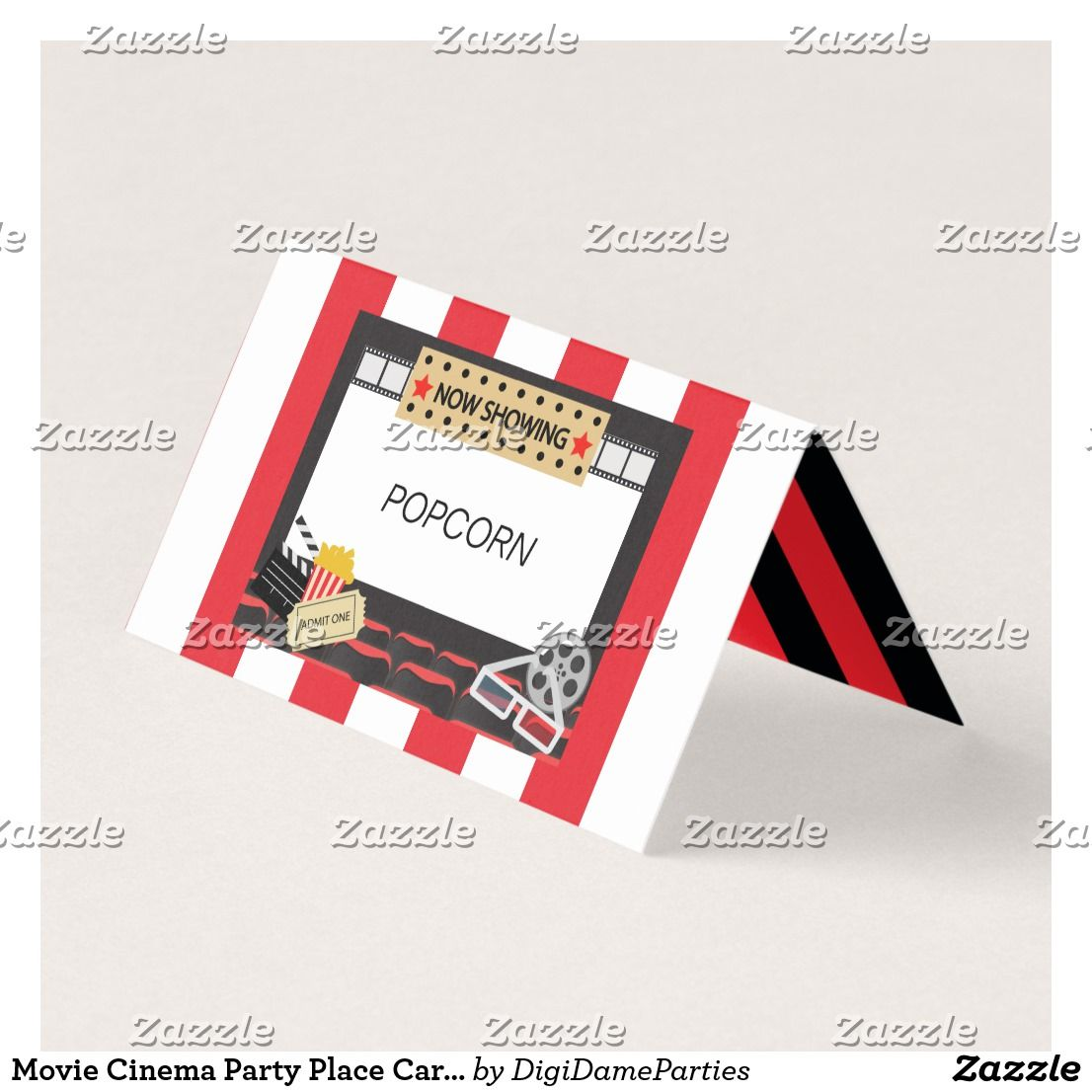 Movie Cinema Party Place Card Food Label Place Card Zazzle Com Movie Themed Party Cinema Party Party Places