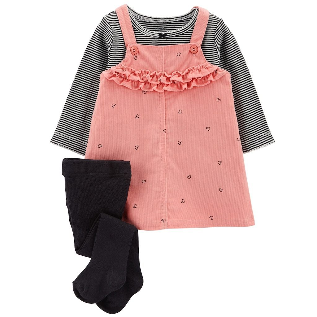 Baby Girl Carters Ruffled Corduroy Jumper Striped Tee Tights Set Carter Love Pink Babyjeans